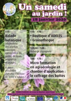 Affiche Samedi au Jardin d'ADELES du 18/01/2020