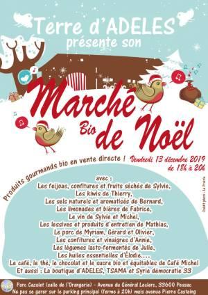 Affiche Marché bio de Noël d'ADELES à l'Orangerie le vendredi 13 décembre 2019 à 18h