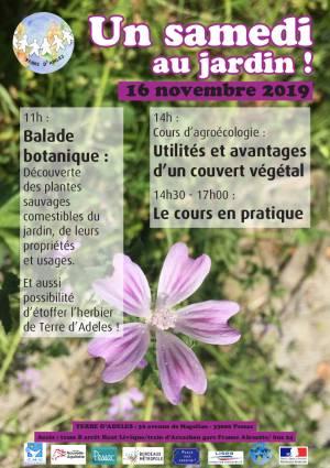 Affiche Samedi au Jardin du 16 novembre 2019