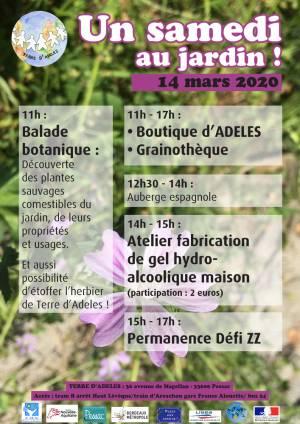 Affiche du Samedi au Jardin d'ADELES du 14 mars 2020