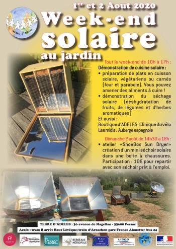 Affiche du week-end solaire au Jardin d'ADELES du 1 et 2 août 2020