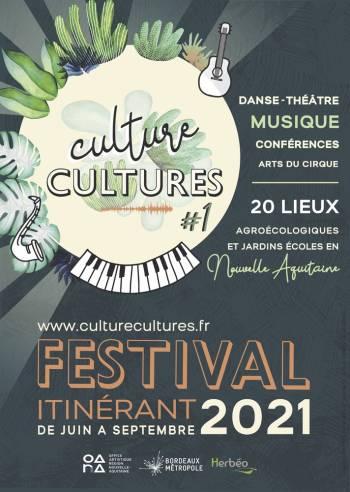 Affiche festival « Culture Cultures » de juin à septembre 2021