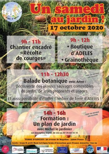 "|Affiche du ""Samedi au Jardin"" du 17 octobre 2020 au Jardin d'ADELES"