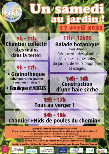 Affiche « Un samedi au jardin ! » du 17 avril 2021