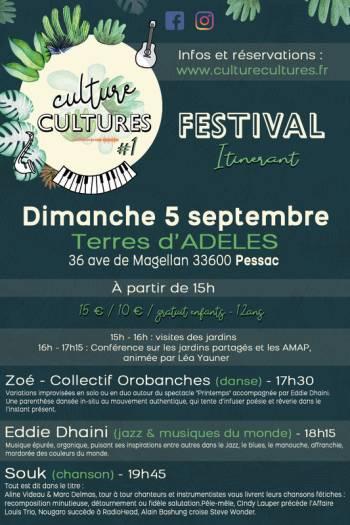 Affiche festival « Culture Cultures » pour le 5 septembre 2021