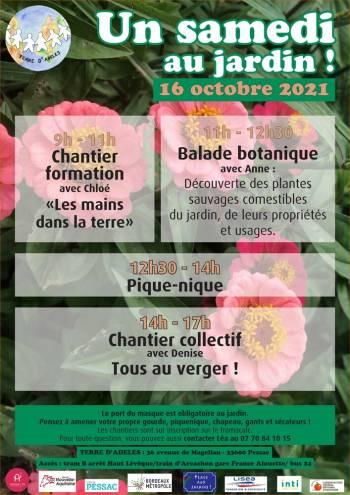 Affiche du Samedi au Jardin du 16 octobre 2021