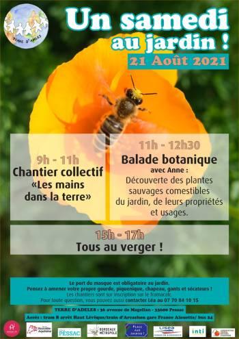 Affiche du Samedi au Jardin du 21 août 2021