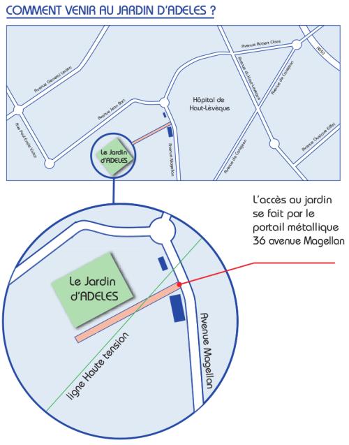 plan d'accès au Jardin d'ADELES